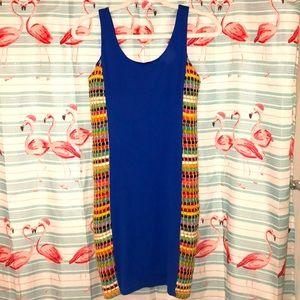JUDITH MARCH Blue Rainbow Bodycon Fit Dress SM NEW